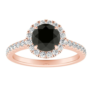 MERILYN Halo Black Diamond Engagement Ring In 14K Rose Gold With 1.00 Carat Round Diamond