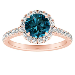 MERILYN  Halo  Blue  Diamond  Engagement  Ring  In  14K  Rose  Gold  With  0.50  Carat  Round  Diamond