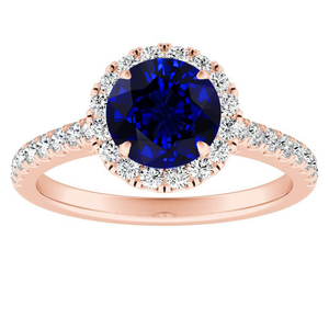 MERILYN Halo Blue Sapphire Engagement Ring In 14K Rose Gold With 0.50 Carat Round Stone