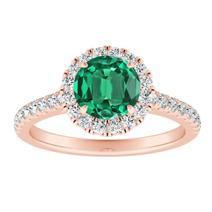 MERILYN Halo Green Emerald Engagement Ring In 14K Rose Gold With 0.50 Carat Round Stone