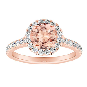MERILYN Halo Morganite Engagement Ring In 14K Rose Gold With 1.00 Carat Round Stone