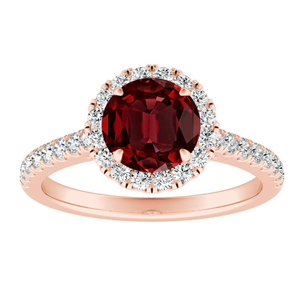 MERILYN Halo Ruby Engagement Ring In 14K Rose Gold With 0.50 Carat Round Stone