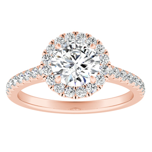 MERILYN Halo Diamond Engagement Ring In 14K Rose Gold