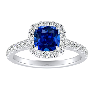 MERILYN Halo Blue Sapphire Engagement Ring In 14K White Gold With 0.50 Carat Cushion Stone