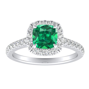 MERILYN  Halo  Green  Emerald  Engagement  Ring  In  14K  White  Gold  With  0.50  Carat  Cushion  Stone