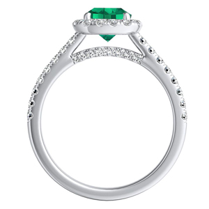 MERILYN  Halo  Green  Emerald  Wedding  Ring  Set  In  14K  White  Gold  With  0.50  Carat  Cushion  Stone
