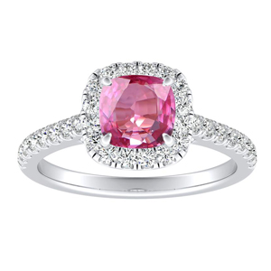 MERILYN  Halo  Pink  Sapphire  Engagement  Ring  In  14K  White  Gold  With  0.50  Carat  Cushion  Stone