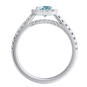 MERILYN  Halo  Aquamarine  Engagement  Ring  In  14K  White  Gold  With  1.00  Carat  Emerald  Stone