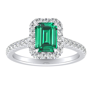 MERILYN  Halo  Green  Emerald  Engagement  Ring  In  14K  White  Gold  With  0.50  Carat  Emerald  Stone