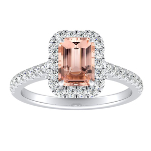 MERILYN Halo Morganite Engagement Ring In 14K White Gold With 1.00 Carat Emerald Stone