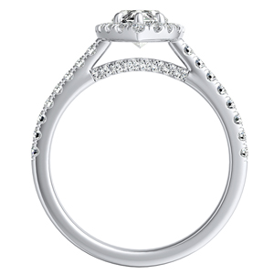 MERILYN Halo Diamond Engagement Ring In 14K White Gold
