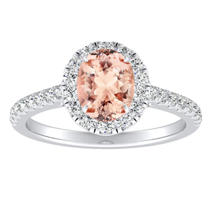 MERILYN Halo Morganite Engagement Ring In 14K White Gold With 1.00 Carat Oval Stone