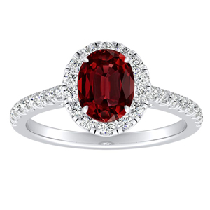 MERILYN Halo Ruby Engagement Ring In 14K White Gold With 0.50 Carat Oval Stone