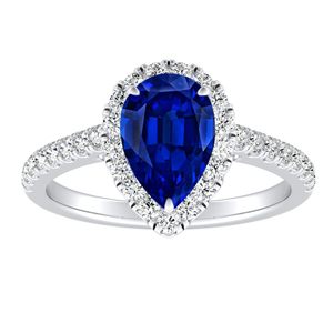 MERILYN  Halo  Blue  Sapphire  Engagement  Ring  In  14K  White  Gold  With  0.50  Carat  Pear  Stone