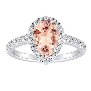 MERILYN Halo Morganite Engagement Ring In 14K White Gold With 1.00 Carat Pear Stone