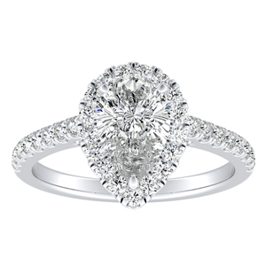 MERILYN Halo Diamond Engagement Ring In 14K White Gold With 0.50ct. Pear Diamond