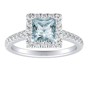 MERILYN  Halo  Aquamarine  Engagement  Ring  In  14K  White  Gold  With  1.00  Carat  Princess  Stone