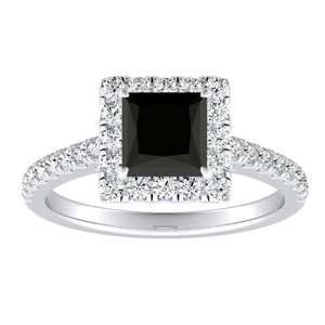 MERILYN  Halo  Black  Diamond  Engagement  Ring  In  14K  White  Gold  With  1.00  Carat  Princess  Diamond