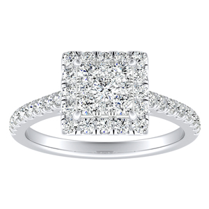 MERILYN Halo Diamond Engagement Ring In 14K White Gold With Princess Diamond In H-I SI1-SI2 Quality