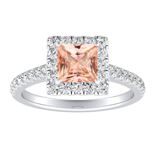 MERILYN Halo Morganite Engagement Ring In 14K White Gold With 1.00 Carat Princess Stone