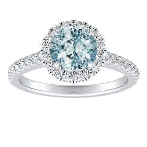 MERILYN Halo Aquamarine Engagement Ring In 14K White Gold With 1.00 Carat Round Stone