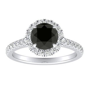 MERILYN  Halo  Black  Diamond  Engagement  Ring  In  14K  White  Gold  With  1.00  Carat  Round  Diamond