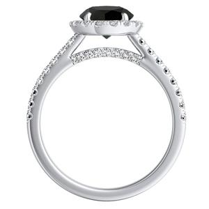 MERILYN  Halo  Black  Diamond  Engagement  Ring  In  14K  White  Gold  With  1.00  Carat  Round  Diamond