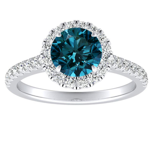 MERILYN  Halo  Blue  Diamond  Engagement  Ring  In  14K  White  Gold  With  0.50  Carat  Round  Diamond