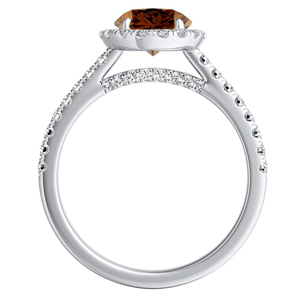 MERILYN  Halo  Brown  Diamond  Engagement  Ring  In  14K  White  Gold  With  0.50  Carat  Round  Diamond