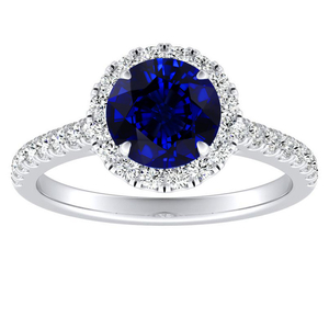 MERILYN Halo Blue Sapphire Engagement Ring In 14K White Gold With 0.30 Carat Round Stone