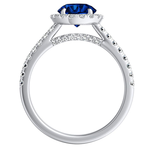 MERILYN  Halo  Blue  Sapphire  Wedding  Ring  Set  In  14K  White  Gold  With  0.50  Carat  Round  Stone