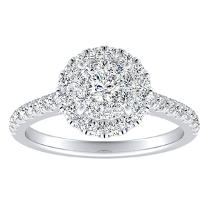 MERILYN Halo Diamond Engagement Ring In 14K White Gold With Round Diamond In H-I SI1-SI2 Quality