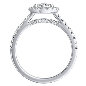MERILYN Halo Diamond Engagement Ring In 14K White Gold With 0.25 Carat Round Diamond In H-I SI1-SI2 Quality