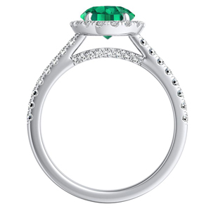 MERILYN  Halo  Green  Emerald  Wedding  Ring  Set  In  14K  White  Gold  With  0.50  Carat  Round  Stone