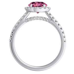MERILYN  Halo  Pink  Sapphire  Wedding  Ring  Set  In  14K  White  Gold  With  0.50  Carat  Round  Stone