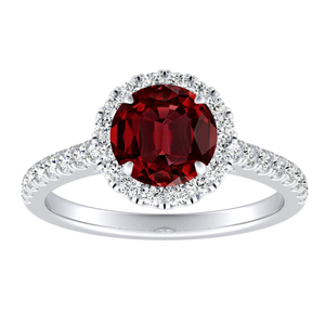 MERILYN Halo Ruby Engagement Ring In 14K White Gold With 0.30 Carat Round Stone