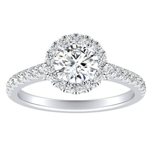 MERILYN  Halo  Moissanite  Engagement  Ring  In  14K  White  Gold  With  0.50  Carat  Round  Stone