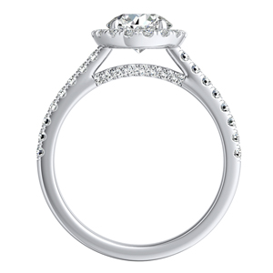 MERILYN  Halo  Moissanite  Wedding  Ring  Set  In  14K  White  Gold  With  0.50  Carat  Round  Stone