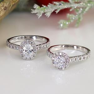 MERILYN  Halo  Moissanite  Engagement  Ring  In  14K  Rose  Gold  With  0.50  Carat  Round  Stone