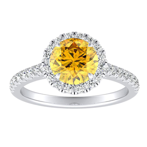 MERILYN  Halo  Yellow  Diamond  Engagement  Ring  In  14K  White  Gold  With  0.50  Carat  Round  Diamond