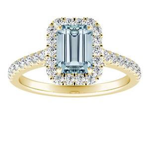 MERILYN Halo Aquamarine Engagement Ring In 14K Yellow Gold With 1.00 Carat Emerald Stone
