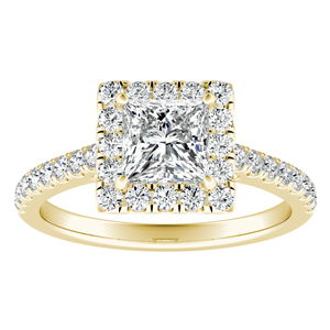 MERILYN Halo Diamond Engagement Ring In 14K Yellow Gold