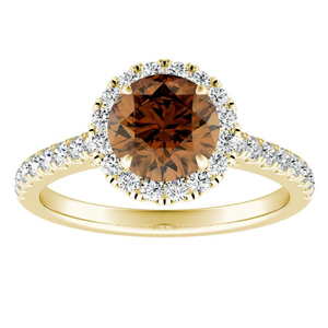 MERILYN  Halo  Brown  Diamond  Engagement  Ring  In  14K  Yellow  Gold  With  0.50  Carat  Round  Diamond