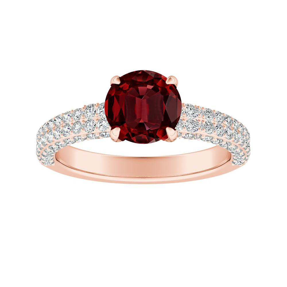 ALEXIA Classic Ruby Engagement Ring In 14K Rose Gold With 0.50 Carat Round Stone
