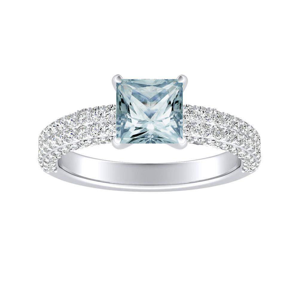 ALEXIA Classic Aquamarine Engagement Ring In 14K White Gold With 1.00 Carat Princess Stone
