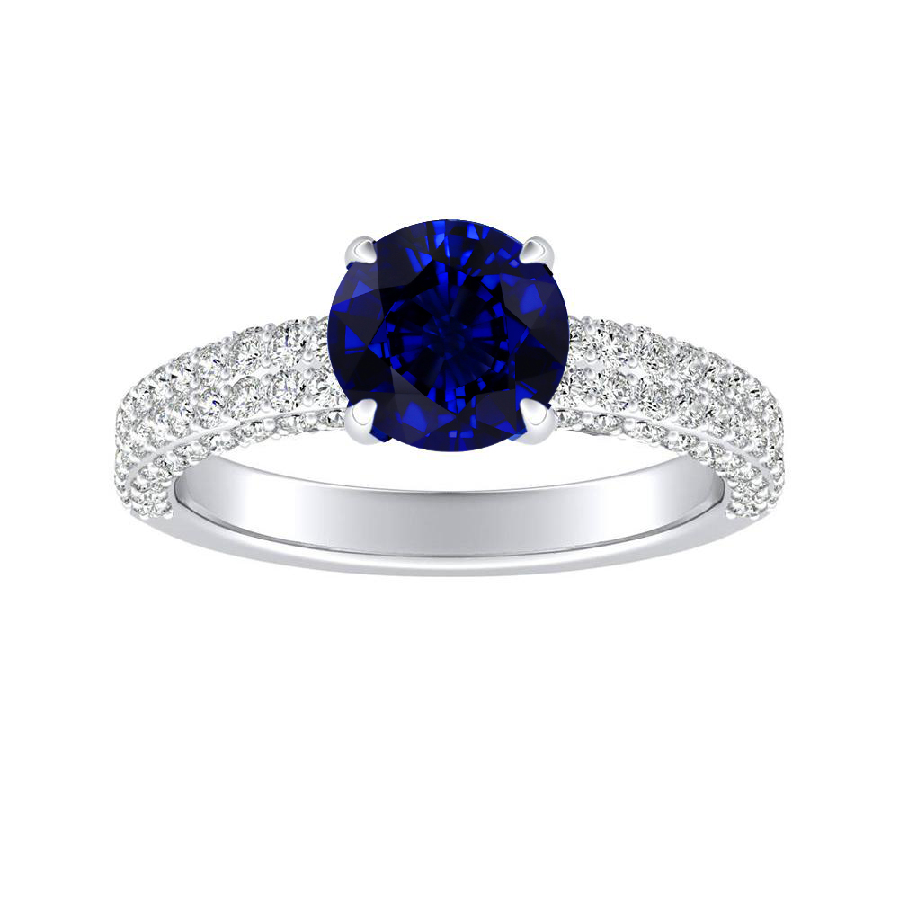 ALEXIA Classic Blue Sapphire Engagement Ring In 14K White Gold With 0.30 Carat Round Stone
