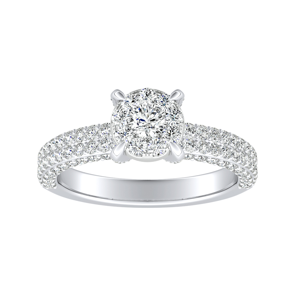 ALEXIA Classic Diamond Engagement Ring In 14K White Gold With Round Diamond In H-I SI1-SI2 Quality