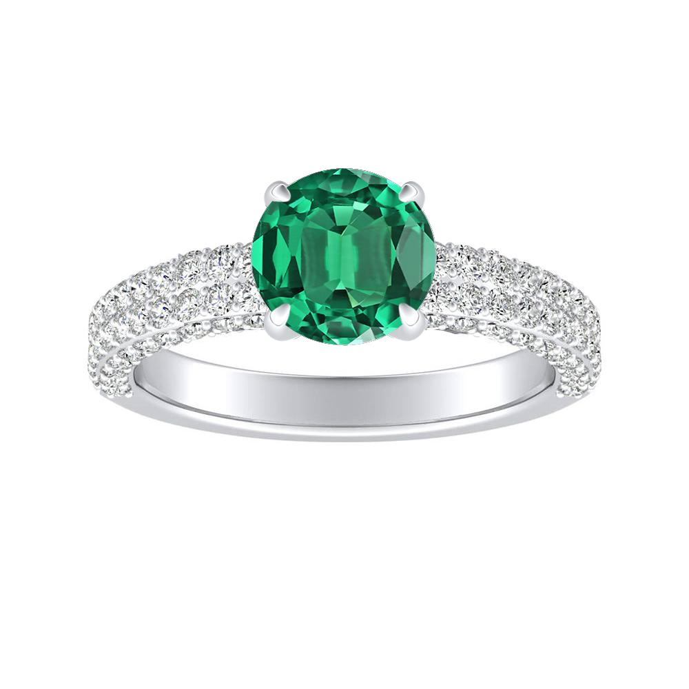ALEXIA Classic Green Emerald Engagement Ring In 14K White Gold With 0.50 Carat Round Stone