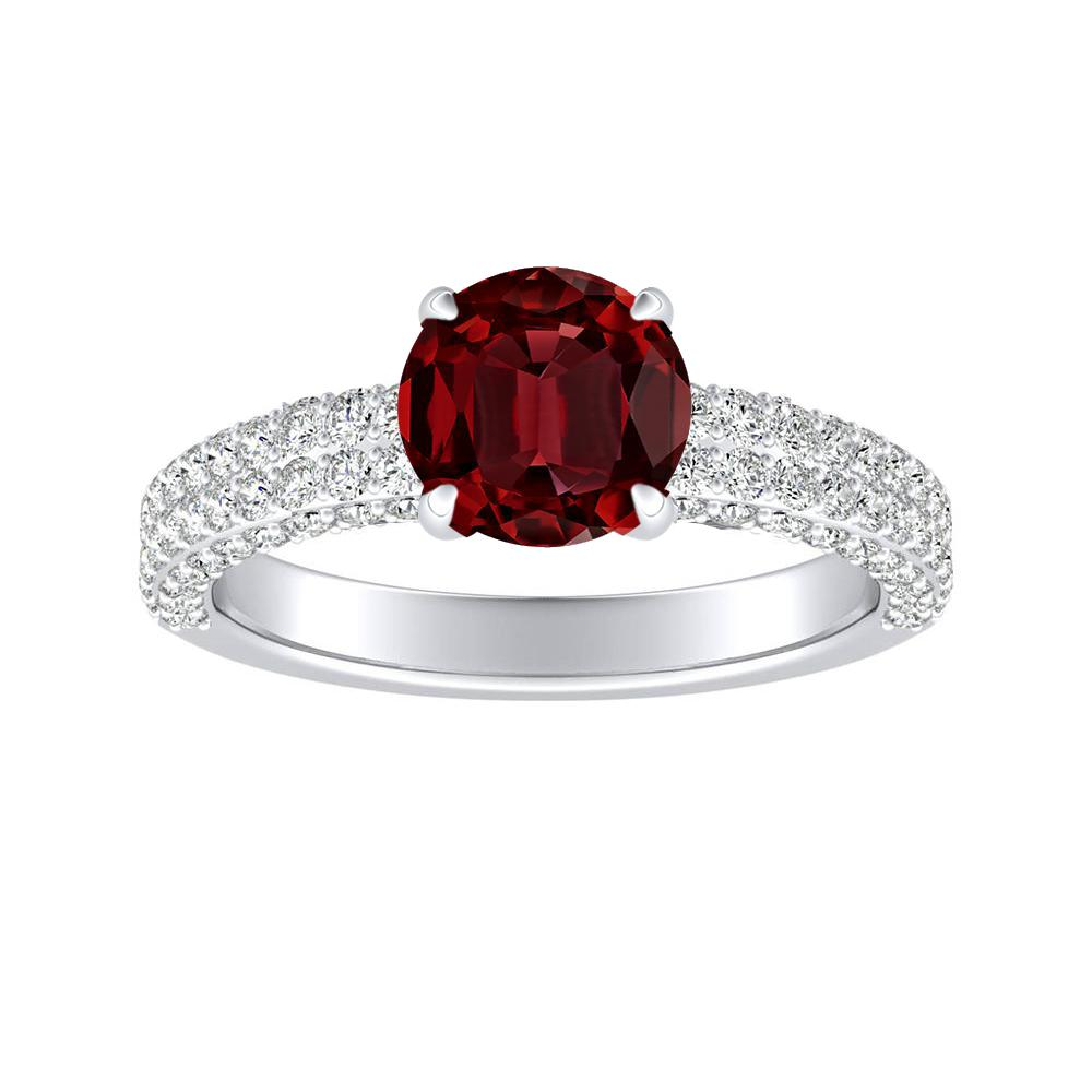 ALEXIA Classic Ruby Engagement Ring In 14K White Gold With 0.30 Carat Round Stone