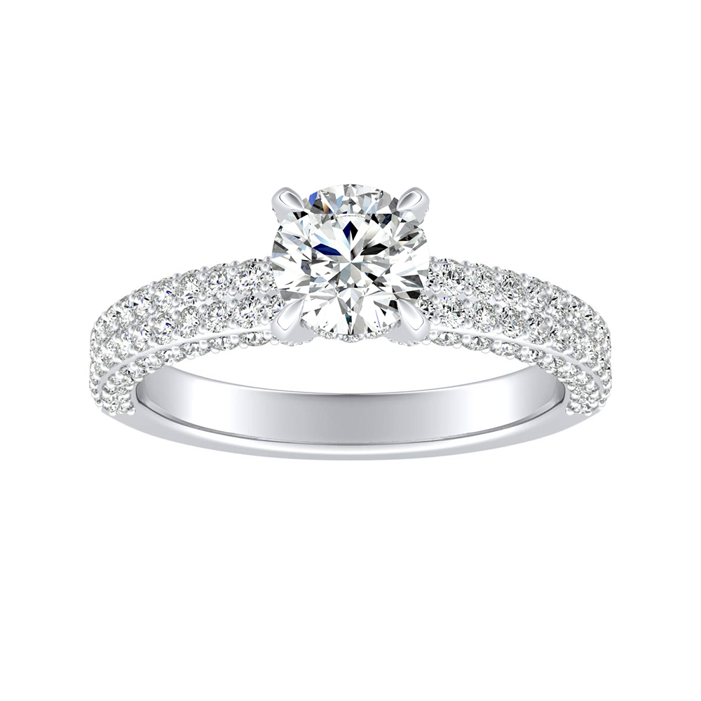 ALEXIA Classic Moissanite Engagement Ring In 14K White Gold With 0.50 Carat Round Stone